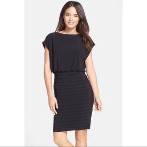 Adrianna Papell Blouson Shutter Pleat Jersey Dress